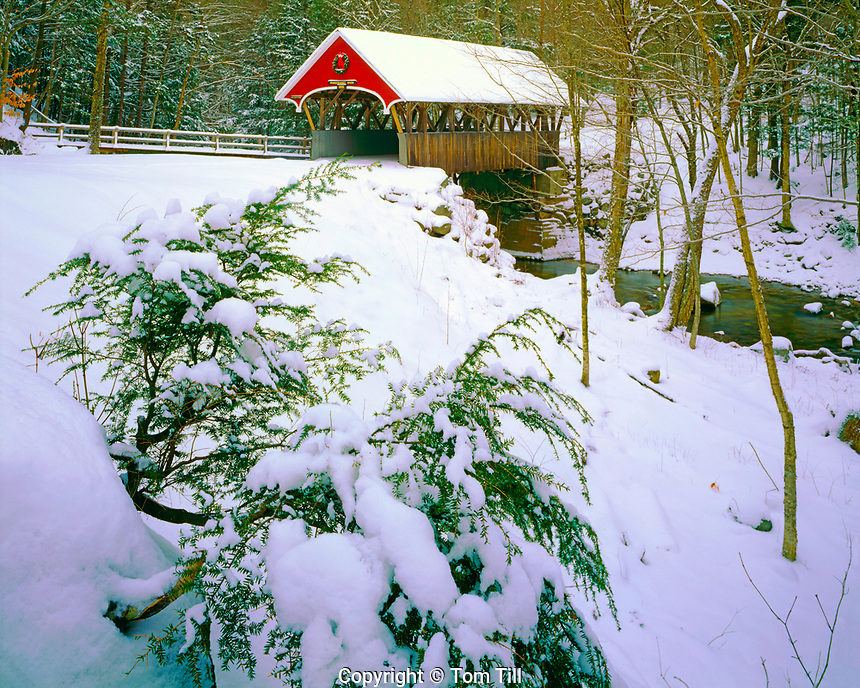 Covered bridge in winter, Franconia Notch State Park, New Hampshire, White Mountains, Appalachian Chain att the Flume