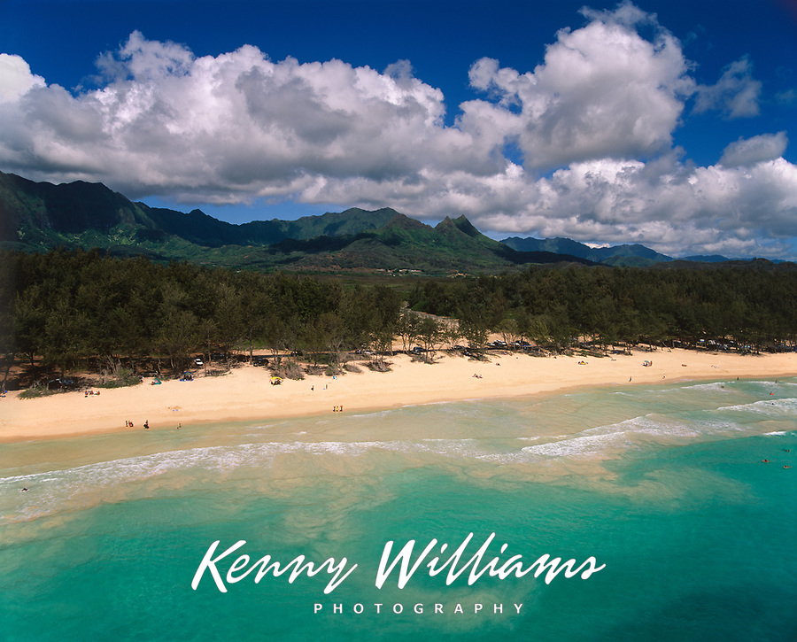 Bellows Beach, Aerial View, Waimanalo, Oahu, Hawaii, USA.
