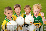 ON THE BALL: Young footballers from North  Kerry enjoying the Kerry GAA/VHI Cul Camp in Ballybunion on Thursday last.. L/r. Padraig Holly (Ballybunion), Fintan Linnane (Asdee), Alex Luragh (France) abd Sean Moloney (Ballybunion)..
