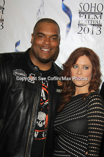 "One Life To Live Sean Ringgold poses with Melissa Archer who stars in ""West End"" a film by Joe Basile about Family, Betrayal, Revenge - Greeting from the Jersey Shore - with its premiere at the Soho International Film Festival on April 11, 2013 at the Sunshine Cinema, New York City, New York. (Photo by Sue Coflin/Max Photos)"