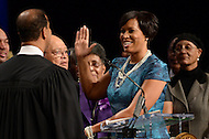 Washington, DC - January 2, 2015: Muriel Bowser takes the oath of office as mayor of the District of Columbia during the 2015 inauguration ceremony held at the Washington Convention Center, January 2, 2015.   (Photo by Don Baxter/Media Images International)