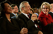 United States Secretary of State Condoleezza Rice, US Secretary of Defense Donald Rumsfeld and US Secretary of Education Margaret Spellings laugh during the opening remarks as US President George W. Bush speaks to the <br /> US University Presidents Summit on International Education at the US State Department in Washington, DC on January 5, 2006. Secretary Rice earlier introduced the President. <br /> Credit: Jay L. Clendenin / Pool via CNP