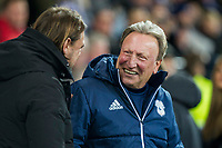 Norwich City head coach Daniel Farke greets Cardiff City manager Neil Warnock ahead of the Sky Bet Championship match between Cardiff City and Norwich City at the Cardiff City Stadium, Cardiff, Wales on 1 December 2017. Photo by Mark  Hawkins / PRiME Media Images.