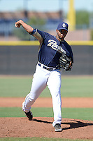 San Diego Padres pitcher Mayky Perez (41) during an Instructional League game against the Chicago White Sox on October 3, 2014 at Peoria Stadium Training Complex in Peoria, Arizona.  (Mike Janes/Four Seam Images)