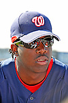 15 March 2008: Washington Nationals' right fielder Lastings Milledge watches batting practice prior to a Spring Training game against the Los Angeles Dodgers at Space Coast Stadium, in Viera, Florida...Mandatory Photo Credit: Ed Wolfstein Photo