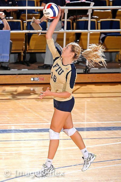 11 September 2011:  FIU outside hitter Jovana Bjelica (16) serves in the second set as the FIU Golden Panthers defeated the Florida A&M University Rattlers, 3-0 (25-10, 25-23, 26-24), at U.S Century Bank Arena in Miami, Florida.