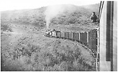 Side view of train from caboose - westbound.<br /> D&amp;RGW  Cerro Summit, CO  Taken by Treptow, Russell F. - 1940