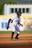 Binghamton Rumble Ponies center fielder Champ Stuart (2) leads off second base during a game against the Altoona Curve on May 17, 2017 at NYSEG Stadium in Binghamton, New York.  Altoona defeated Binghamton 8-6.  (Mike Janes/Four Seam Images)