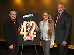 "Joe DiPietro, Bonnie Comley and Stewart F. Lane attends the BroadwayHD's ""42nd Street"" Screening at the AMC Empire 25 Theatres on April 16, 2019 in New York City."
