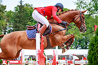 AUS-Katrin Khoddam-Hazrati rides Cosma to one of the very few clear round of the first session during the Showjumping at the 2017 POL-FEI European Eventing Championship, Strzegom, Poland. Sunday 20 August. Photo Copyright: Libby Law Photography