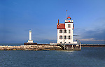 The Lorain Lighthouse Sits At The End Of The West Breakwater In The Port Of Lorain Ohio On Lake Erie, USA