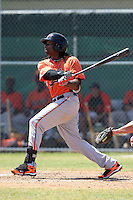 Baltimore Orioles minor league player Kieron Pope #17 during a spring training game vs the Boston Red Sox at the Buck O'Neil Complex in Sarasota, Florida;  March 22, 2011.  Photo By Mike Janes/Four Seam Images