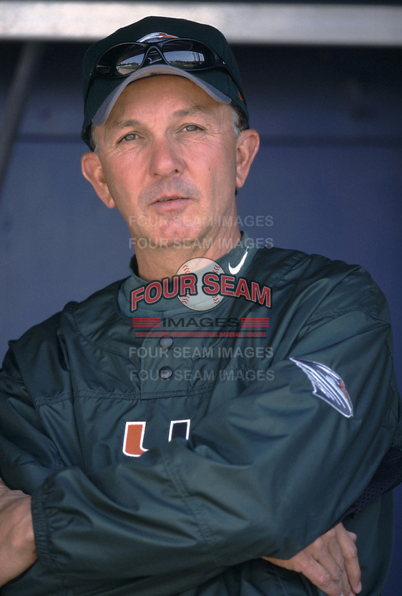 Head Coach Jim Morris of the University of Miami Hurricanes before a 2002 season NCAA game against the UCLA Bruins at Jackie Robinson Stadium in Los Angeles, California. (Larry Goren/Four Seam Images)