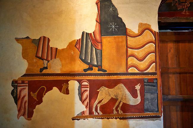 Twelfth century restored Romanesque Frescoes in the church of Saint Joan of Boi, Val de Boi, Alta Ribagorca, Pyranese, Spain. A UNESCO World Heritage Site