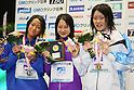 (L to R) Aya Takano (JPN), Asami Chida (JPN), Ayano Koguchi (JPN), APRIL 2, 2012 - Swimming : JAPAN SWIM 2012 Women's 400m free style victory ceremony at Tatsumi International Swimming Pool, Tokyo, Japan. (Photo by Yusuke Nakanishi/AFLO SPORT) [1090]