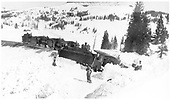 Four small engines on the loop.  First engine is derailed westbound.<br /> D&amp;RG  Cumbres, CO  Taken by Lively, Charles R. - circa 1918-1920