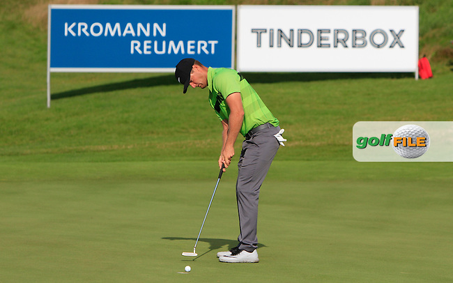 Lucas Bjerregaard (DEN) on the 14th green during Round 1 of the Made in Denmark 2016 at the Himmerland Golf Resort, Farso, Denmark on Thursday 25th August 2016.<br /> Picture:  Thos Caffrey / www.golffile.ie<br /> <br /> All photos usage must carry mandatory copyright credit   (&copy; Golffile | Thos Caffrey)