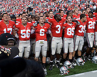 The Ohio State football team sings Carmen Ohio after the Ohio State Buckeyes defeated the Kent State Golden Flashes 48-3 on  October 13, 2007 at Ohio Stadium, Columbus, Ohio.
