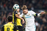 Sergio Ramos of Real Madrid (R) in action against Borussia Dortmund Defender Sokratis Papastathopoulos (L) during the Europe Champions League 2017-18 match between Real Madrid and Borussia Dortmund at Santiago Bernabeu Stadium on 06 December 2017 in Madrid Spain. Photo by Diego Gonzalez / Power Sport Images