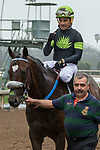 ARCADIA, CA  MARCH 10: #2 Bowies Hero, ridden by Corey Nakatani, return to congratulations from the connections after winning the Frank E. Kilroe Mile (Grade l) on March 10, 2018, at Santa Anita Park in Arcadia, CA(Photo by Casey Phillips/ Eclipse Sportswire/ Getty Images)