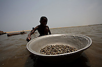 .... a young boy, catches mussels  in a lagoon in the Volta region, Ghana, on Saturday March 09 2007.