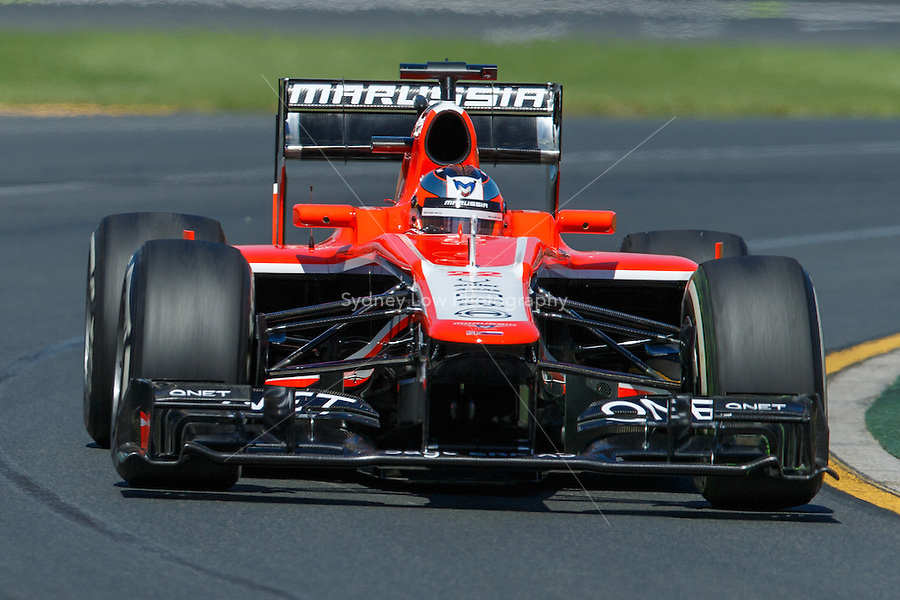 MELBOURNE, 15 MARCH 2013 - Jules Bianchi (FRA) from the Marussia F1 Team rounds turn two in practice session one day two of the 2013 Formula One Rolex Australian Grand Prix at the Albert Park Circuit in Melbourne, Australia. Photo Sydney Low/syd-low.com.