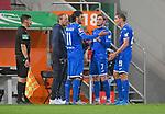 17.06.2020, Fussball 1. Bundesliga 2019/2020, 32. Spieltag, FC Augsburg - TSG 1899 Hoffenheim, in der WWK-Arena Augsburg. (L-R) Interimstrainer Matthias Kaltenbach (TSG 1899 Hoffenheim), Florian Grillitsch (TSG 1899 Hoffenheim), Jacob Bruun Larsen (TSG 1899 Hoffenheim) und Robert Skov (TSG 1899 Hoffenheim)<br /> <br /> Foto: Bernd Feil/MIS/Pool/PIX-Sportfotos<br /> <br /> Nur für journalistische Zwecke! Only for editorial use! <br /> <br /> Gemäß den Vorgaben der DFL Deutsche Fußball Liga ist es untersagt, in dem Stadion und/oder vom Spiel angefertigte Fotoaufnahmen in Form von Sequenzbildern und/oder videoähnlichen Fotostrecken zu verwerten bzw. verwerten zu lassen. DFL regulations prohibit any use of photographs as image sequences and/or quasi-video.    <br /> <br /> National and international NewsAgencies OUT.