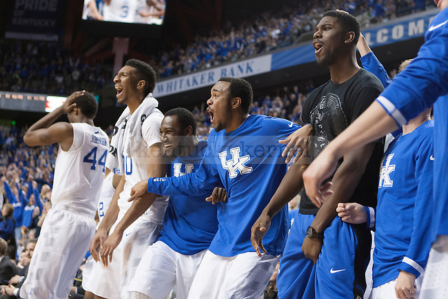 The Kentucky Wildcats bench reacts to a dunk during the game against the Auburn Tigers at Rupp Arena on Saturday, February 21, 2015 in Lexington, Ky. Kentucky defeated Auburn 110-75. Photo by Michael M Reaves | Staff.