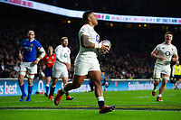 Manu Tuilagi of England runs in a second half try. Guinness Six Nations match between England and Italy on March 9, 2019 at Twickenham Stadium in London, England. Photo by: Patrick Khachfe / Onside Images