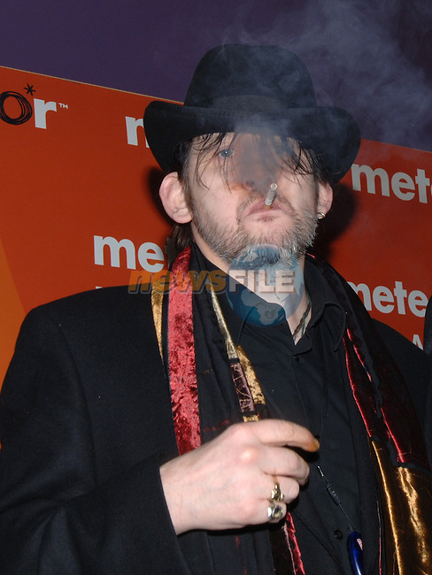 Shane Mc Gowan defies the smoking ban at the Meteor music awards in the Point theatre Dublin..Photo NEWSFILE/Colin Bell.(Photo credit should read Colin Bell/NEWSFILE)...This Picture has been sent you under the condtions enclosed by:.Newsfile Ltd..the Studio,.Millmount Abbey,.Drogheda,.Co Meath..Ireland..Tel: +353(0)41-9871240.Fax: +353(0)41-9871260.GSM: +353(0)86-2500958.email: pictures@newsfile.ie.www.newsfile.ie.FTP: 193.120.102.198..This picture is from Fran Caffrey@newsfile.ie