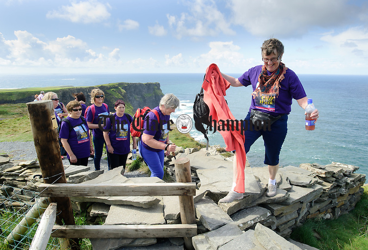 Walkers reach the Hags Head area during the Weightwatchers/Clare Champion Liscannor to Cliffs of Moher coastal walk. Photograph by John Kelly.
