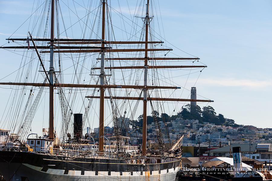 United States, California, San Francisco. Sailship outside Fisherman's Wharf.