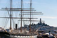 United States, California, San Francisco. Sailship outside Fisherman's Wharf.