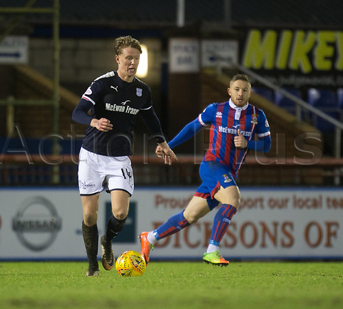 30th January 2018, Tulloch Caledonian Stadium, Inverness, Scotland; Scottish Cup 4th round replay, Inverness Caledonian Thistle versus Dundee; Dundee's Mark O'Hara breaks away from Inverness Caledonian Thistle's John Baird