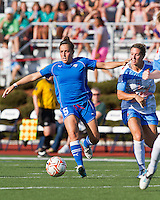 Boston Breakers forward Amanda DaCosta (5) controls the ball as Chicago Red Stars midfielder Jen Buczkowski (4) comes in for a tackle.  The Boston Breakers beat the Chicago Red Stars 1-0 at Dilboy Stadium.