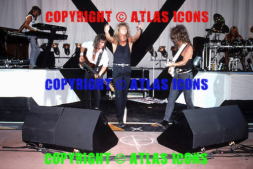 Europe, Joey Tempest, John Norum, John Levén, Mic Michaeli, Ian Haugland, Kee Marcello; August 1, 1988.Photo Credit: Eddie Malluk/Atlas Icons.com