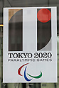 A Tokyo 2020 Paralympic Games logo on display at the entrance of Tokyo Metropolitan building on September 1, 2015, Tokyo, Japan. The Tokyo Olympic organizers have decided to drop the logo for the 2020 Games after an emergency meeting on Tuesday September 1st. Designer Kenjiro Sano's logo had been critized after Belgian, Olivier Debie, instigated legal action due to similarities to his logo for the Theater de Liege in Belgium. Beleaguered Sano has also recently faced other questions of plagiarism over his past designs. (Photo by Rodrigo Reyes Marin/AFLO)