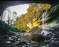 Clifty Falls in autumn, Clifty Falls State Park, Indiana, sandstone canyons neat Ohio River