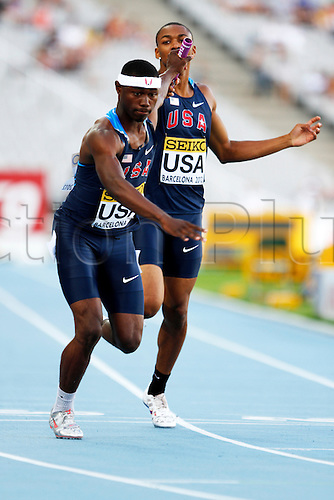 14.07.2012 Barcelona, Spain. Athletes USA Team 4x400 Metres Relay for Men  during day 5 of the IAAF World Junior Championships from the Montjuic Olympic Stadium in Barcelona. (USA Team members Quincy Downing, Eric Futch and Arman Hall)