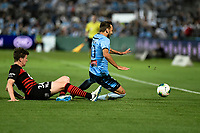 28th February 2020; Netstrata Jubilee Stadium, Sydney, New South Wales, Australia; A League Football, Sydney FC versus Western Sydney Wanderers; Adam le Fondre of Sydney is tackled by Patrick Ziegler of Western Sydney Wanderers