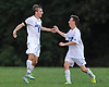 Andrew Lule #5 of Glenn, left, gets congratulated by teammate Thomas Witthuhn #22 after he scored his third goal of the match in the second half of Suffolk County League VI varsity boys soccer game against Southampton at Glenn High School on Friday, Sept. 9, 2016. Glenn won by a score of 6-3.