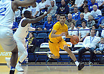 February 4, 2017:  Wyoming guard, Justin James #1, on attack during the NCAA basketball game between the Wyoming Cowboys and the Air Force Academy Falcons, Clune Arena, U.S. Air Force Academy, Colorado Springs, Colorado.  Wyoming defeats Air Force 83-74.