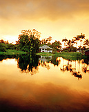 USA, Hawaii, Hilo, The Big Island, scenic view of the Ice Pond with house in the background
