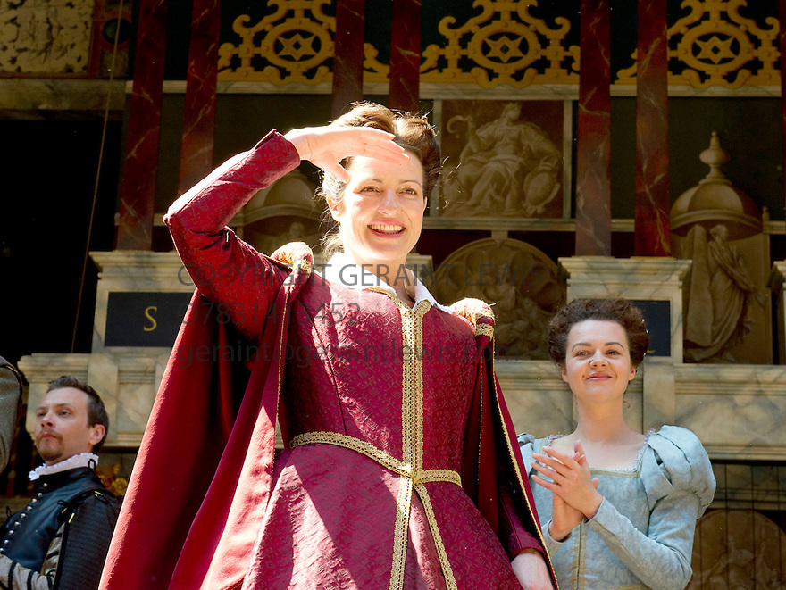Julius Caesar by William Shakespeare. A Shakespeare's Globe Production directed by Dominic Dromgoogle. With  Katy Stephens as Calphurnica, Catherine Bailey as Portia. Opens at Shakespeare's Globe Theatre on 2/7/14  pic Geraint Lewis