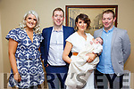 Baby Penny wit her parents Patsy & Laura Lane, Kilmorna, Listowel and god parents Ruth Lehane & Denis Lane who was christened in St. Mary's Church, Listowel by Canon Declan O'Connor on Saturday last and afterwards at the Listowel Arms Hotel.