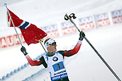 16th March 2019, Ostersund, Sweden; IBU World Championships Biathlon, day 8, mens relay; Johannes Thingens Boe (NOR) celebrates as he comes across the finish line