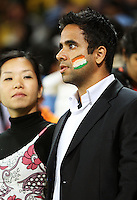 An Indian fan is stunned by the last-ball loss during 2nd Twenty20 cricket match match between New Zealand Black Caps and West Indies at Westpac Stadium, Wellington, New Zealand on Friday, 27 February 2009. Photo: Dave Lintott / lintottphoto.co.nz