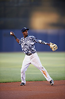 Tampa Yankees shortstop Jorge Mateo (14) warmup throw to first base during the second game of a doubleheader against the Bradenton Marauders on April 13, 2017 at George M. Steinbrenner Field in Tampa, Florida.  Tampa defeated Bradenton 2-1.  (Mike Janes/Four Seam Images)