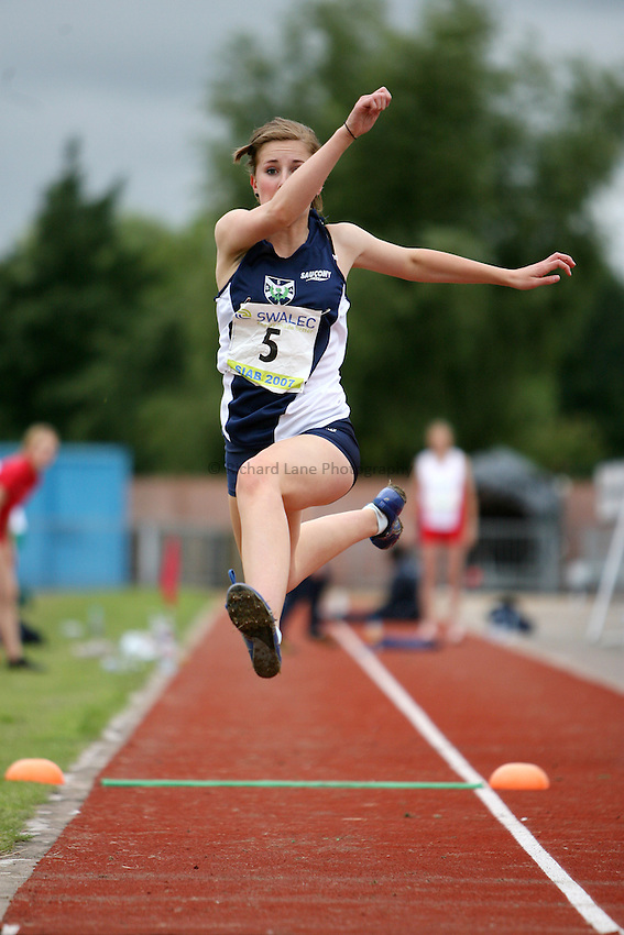 Photo: Rich Eaton...Schools International Athletic Board, Track & Field International Match, Newport. 21/07/2007. Iona McKay of Scotland competes in the girls triple jump.