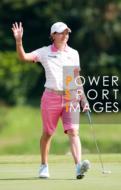 TAOYUAN, TAIWAN - OCTOBER 22: Catriona Matthew of Scotland celebrates a bogey on the 8th hole during day three of the LPGA Imperial Springs Taiwan Championship at Sunrise Golf Course on October 22, 2011 in Taoyuan, Taiwan. Photo by Victor Fraile / The Power of Sport Images